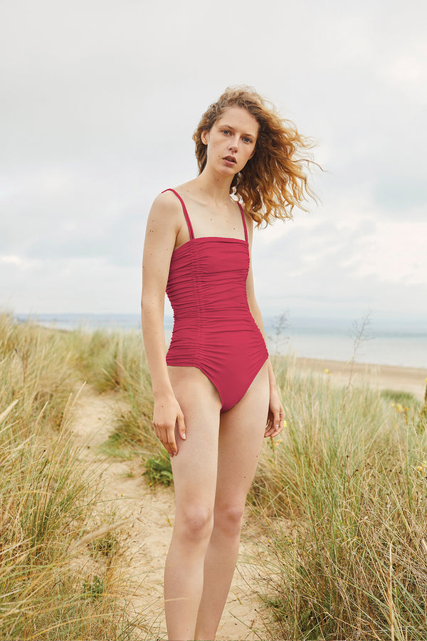Three Graces London Ruched Helena Swimsuit in Raspberry.