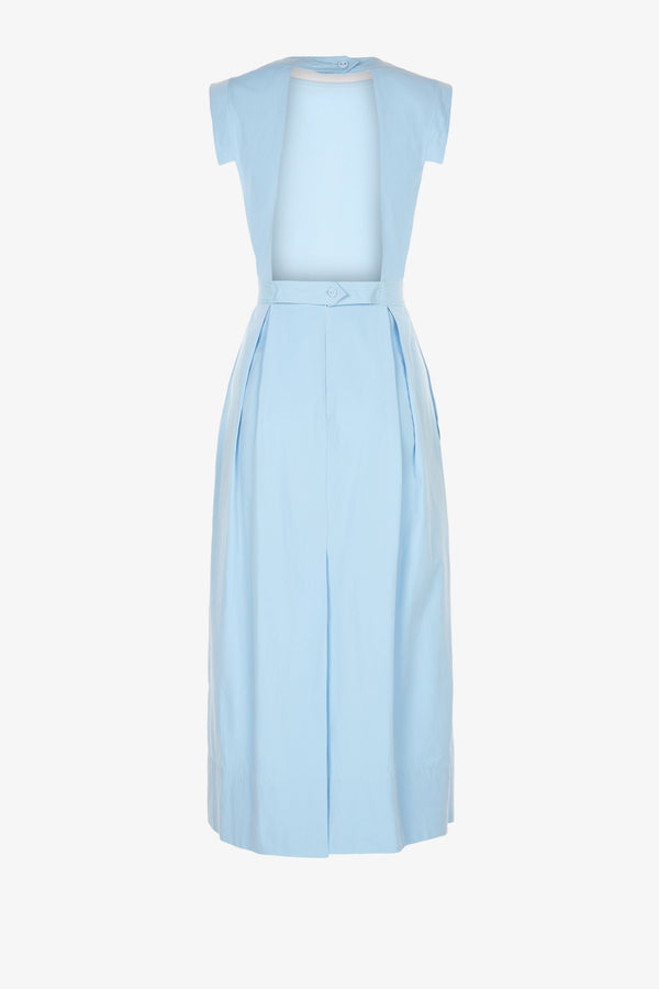 Jolene Cotton Open Back Midi Dress in Sky Blue