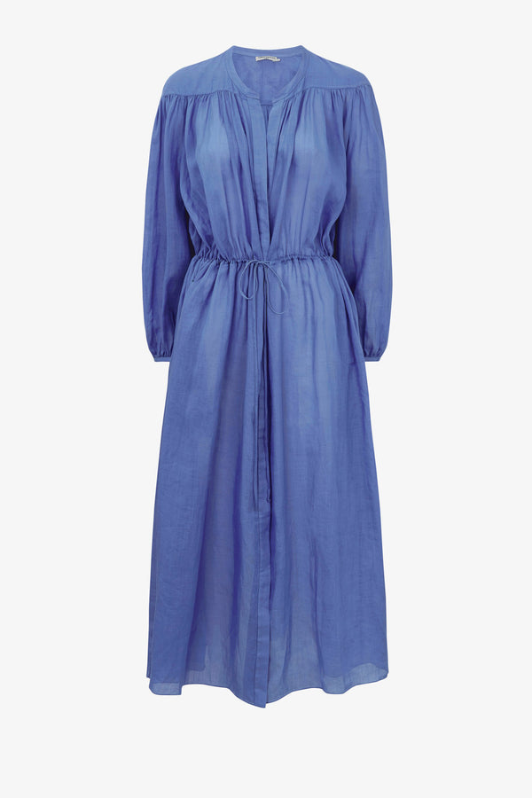 Julienne Ramie Draw-Waist Dress in Blue