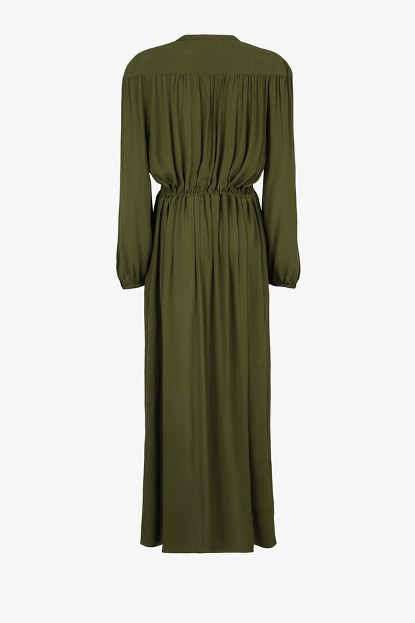 Julienne Crepe Draw-Waist Dress in Olive