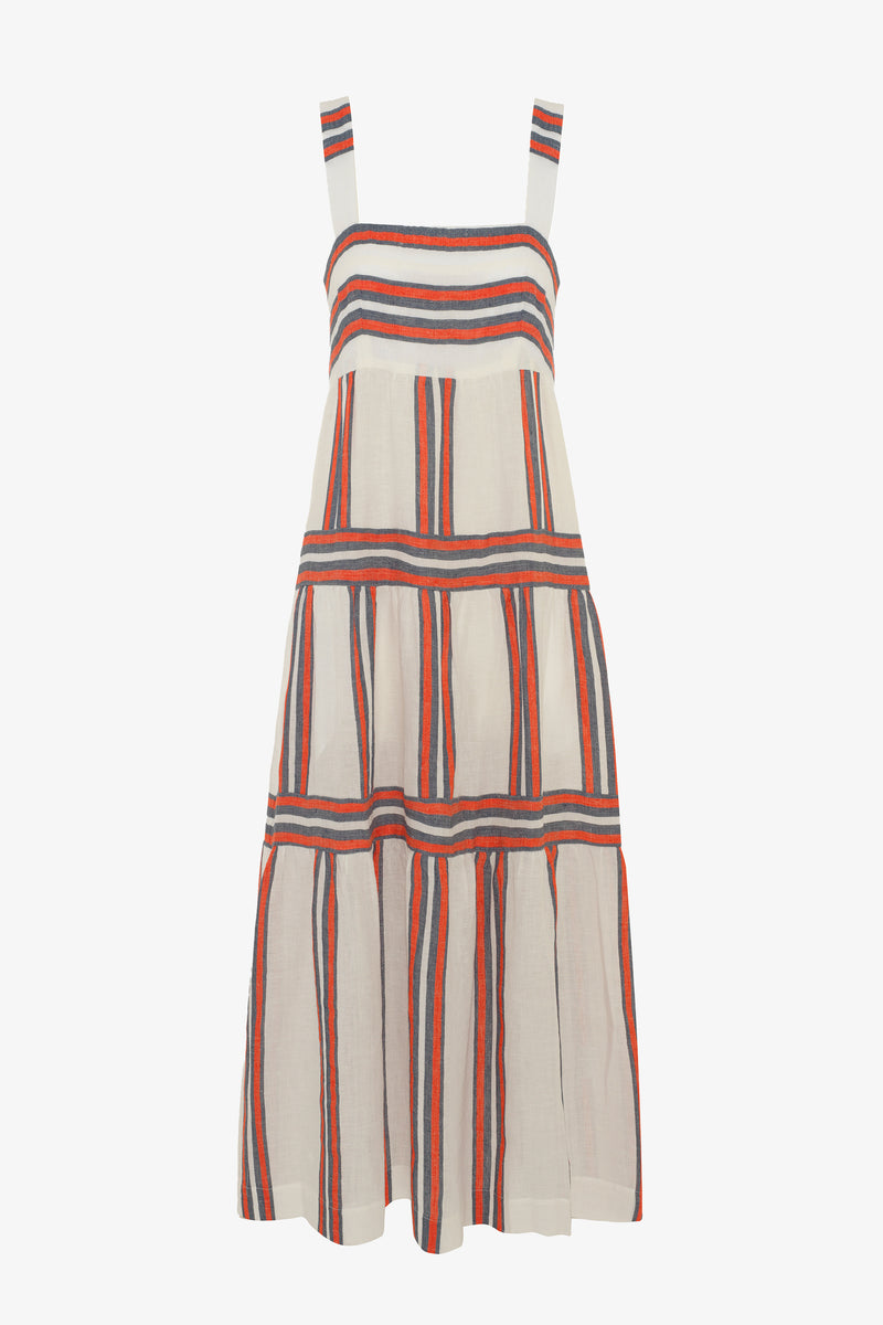 Kitty Linen Ankle Length Dress in Parasol Stripe
