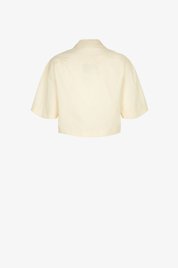 Lily Cotton Cropped Shirt in Oyster