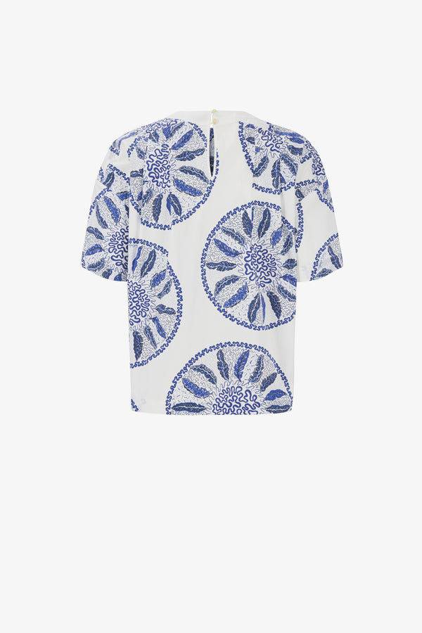 TGL x Zandra Rhodes: Luna Cotton Poplin Top in Blue Circles