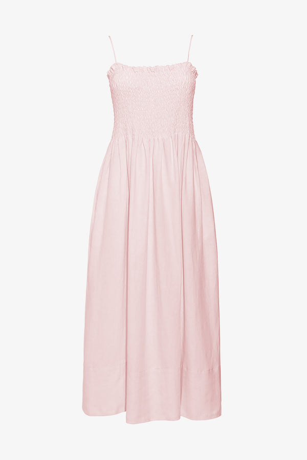 Lena Linen Ankle Length Maxi Dress in Ice Pink