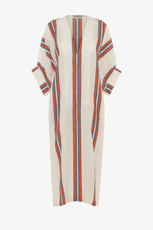 Livietta Linen Side Slit Kaftan in Parasol Stripe