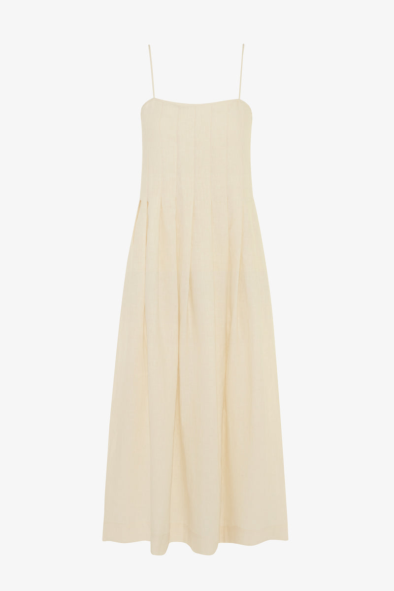Lucia Linen Ankle Length Dress in Chalk