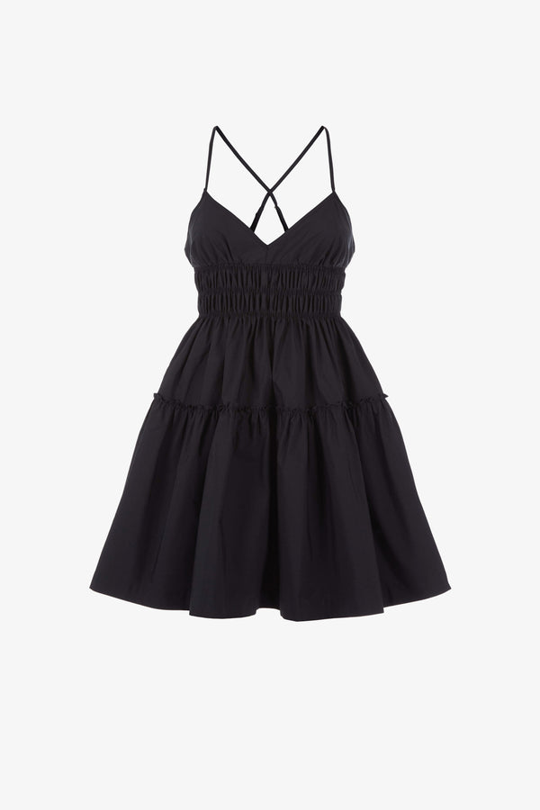 Mia Cotton Strappy Mini Dress in Black