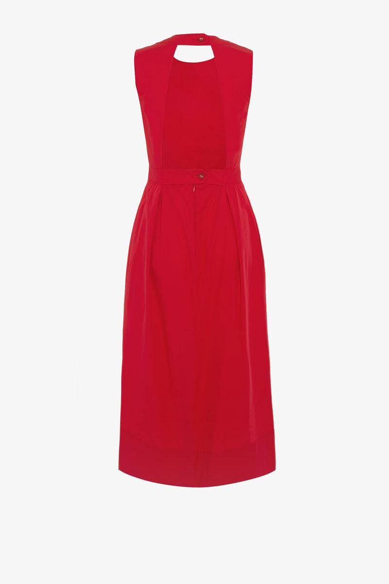 Marjorie Cotton Open Back Midi Dress in Rouge Red