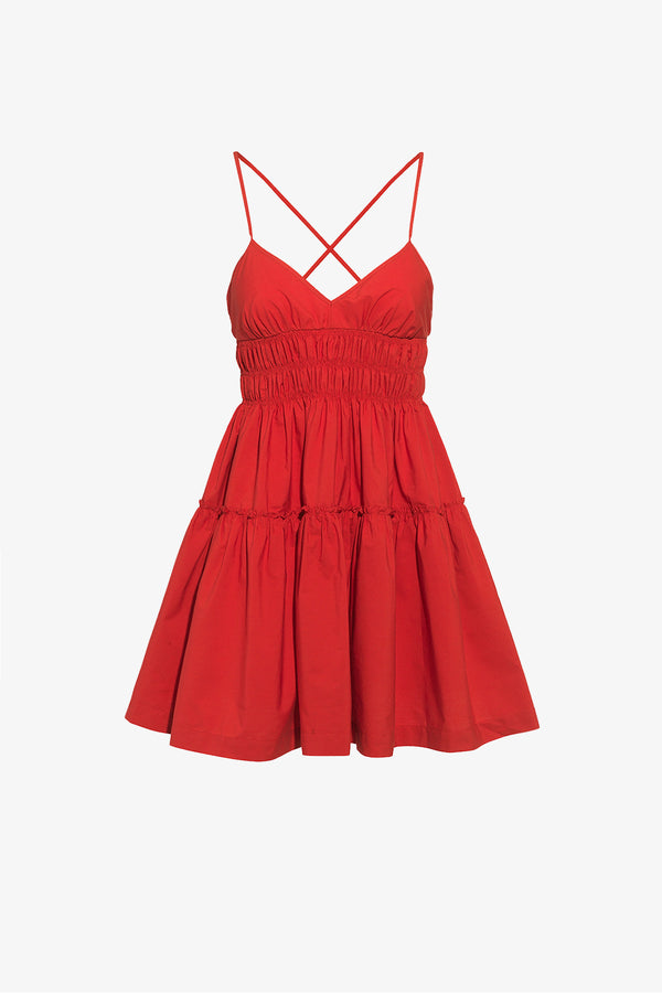 Mia Cotton Strappy Mini Dress in Rouge Red