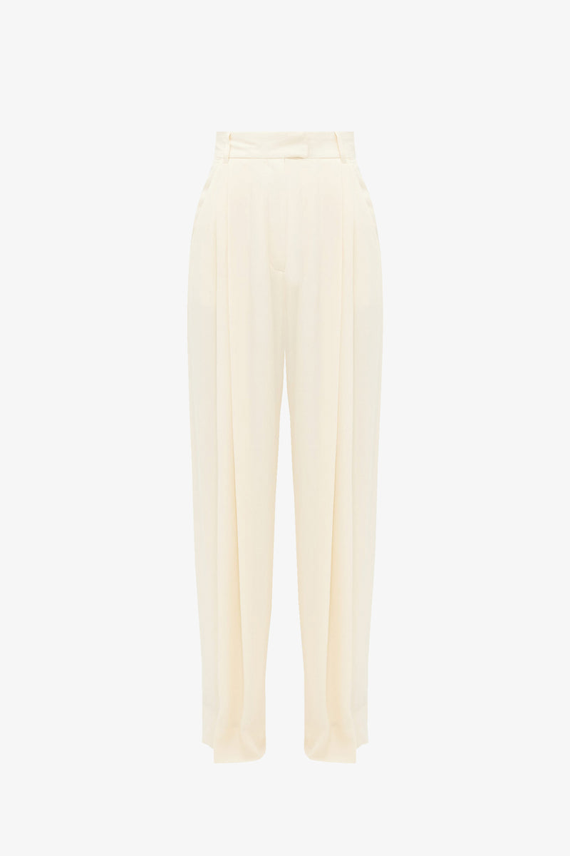 Molly Crepe Wide Leg Trousers in Oyster