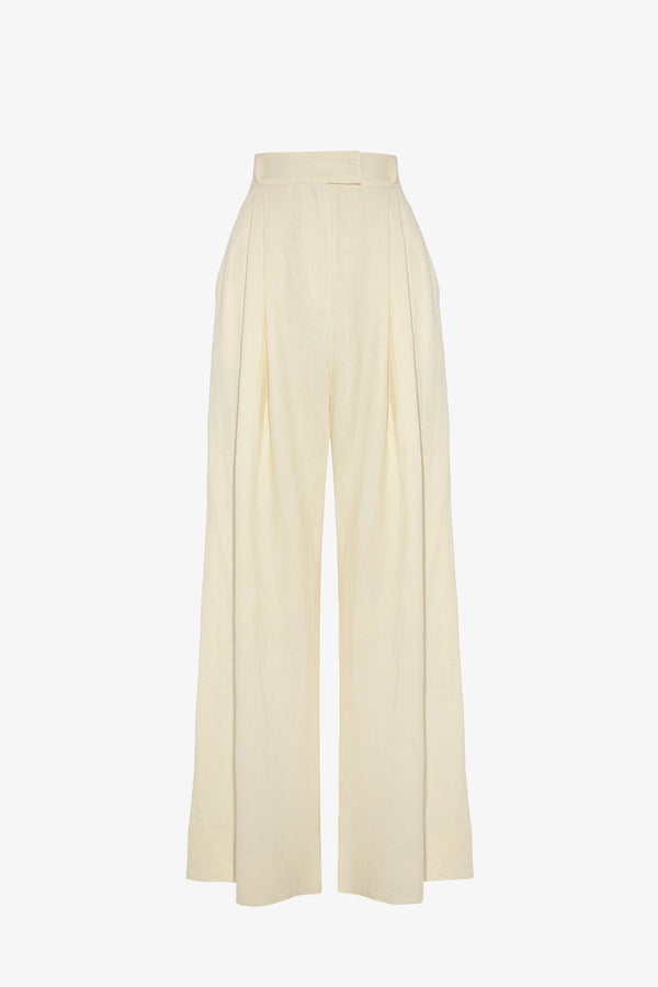 Molly Linen Wide Leg Trousers in Chalk