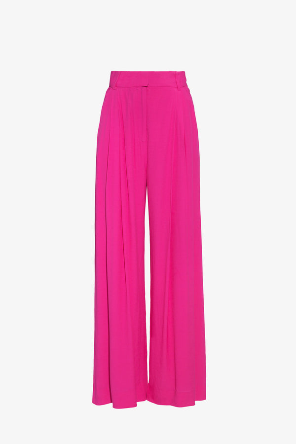 Molly Crepe Wide Leg Trousers in Ibiza Pink