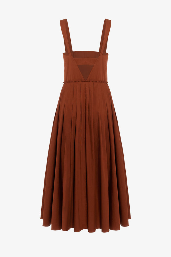 Esther Midi Length Cotton Poplin Dress in Copper