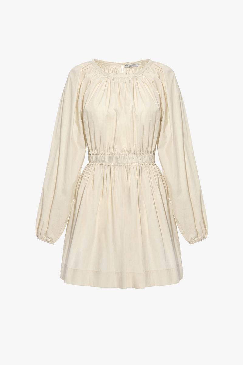 Rosette Cotton Mini Dress in Chalk