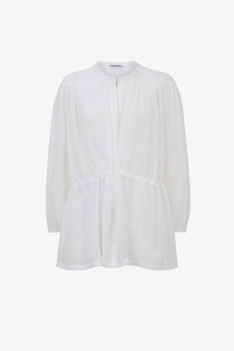 Rosaline Cotton Rouleau Tie Shirt in White