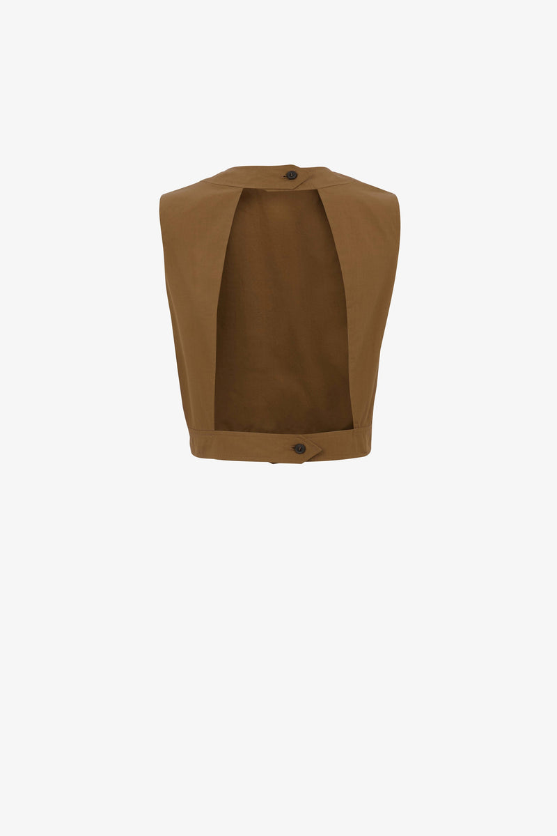 Rosie Cotton Poplin Cropped Top in Clay