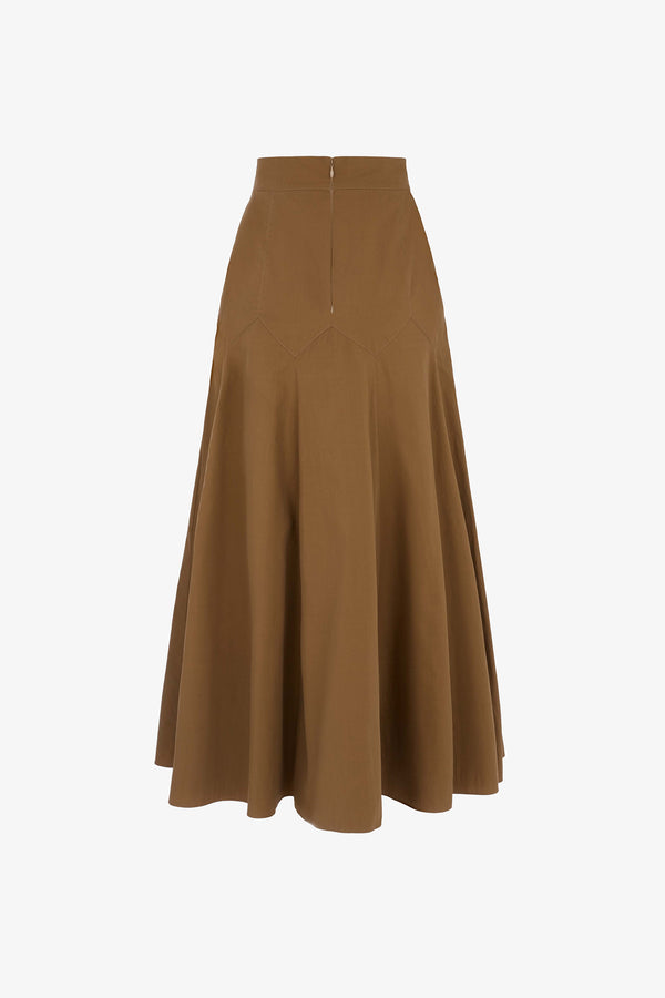 Aria Cotton Poplin Maxi Skirt in Clay