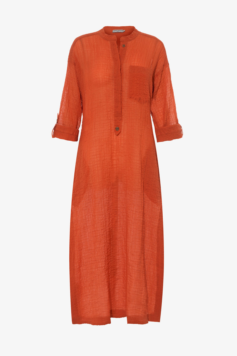 August Crinkle Cotton Voile Kaftan in Terracotta