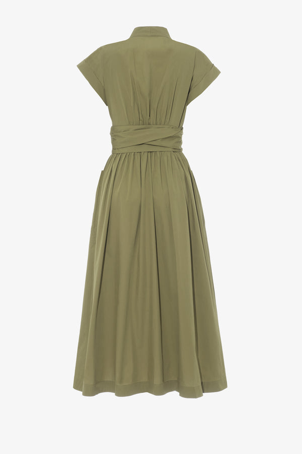Clarissa Cotton Poplin Classic Midi Dress in Khaki