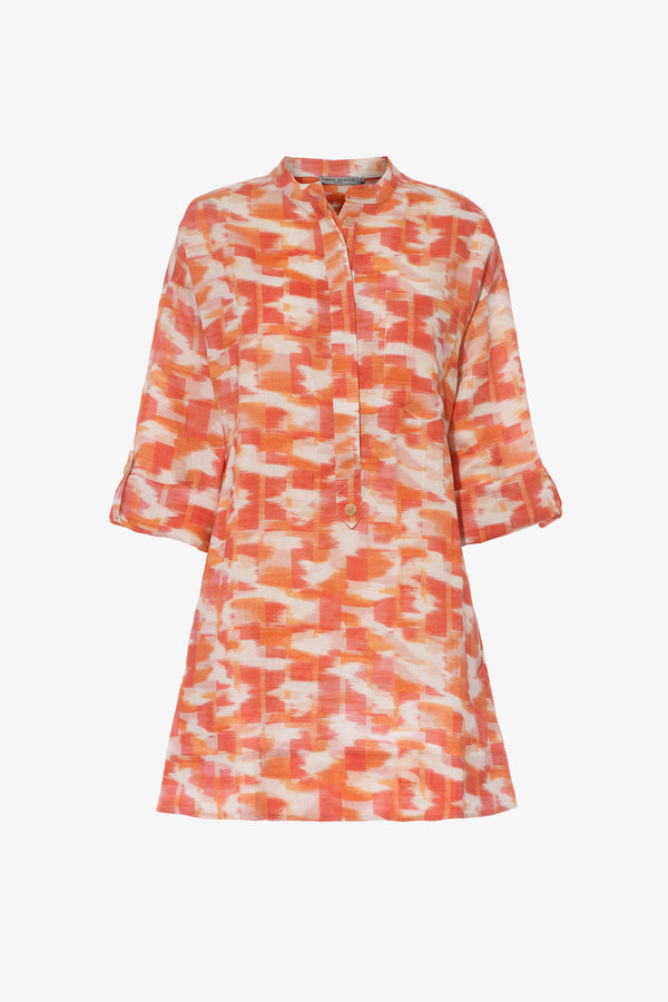Ira Linen Mini Dress in Ikat Print
