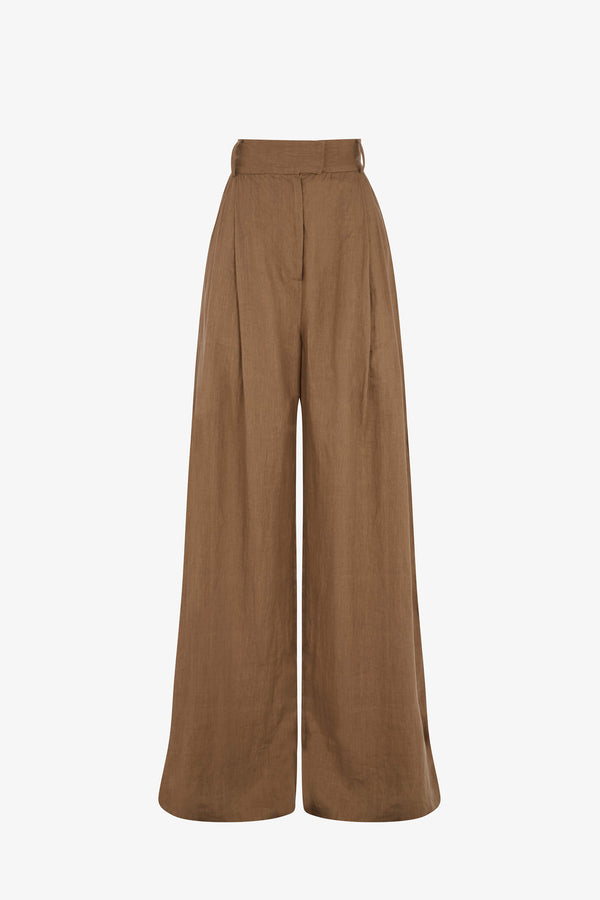 Molly Linen Wide Leg Trousers in Clay