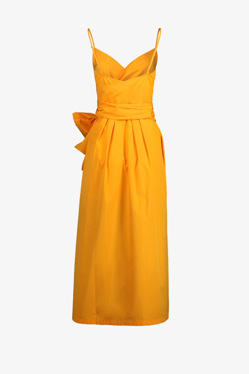 Martha Cotton Wrap Midi Dress in Mango