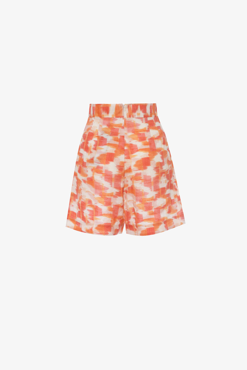 Robin Linen A-Line Shorts in Ikat Print