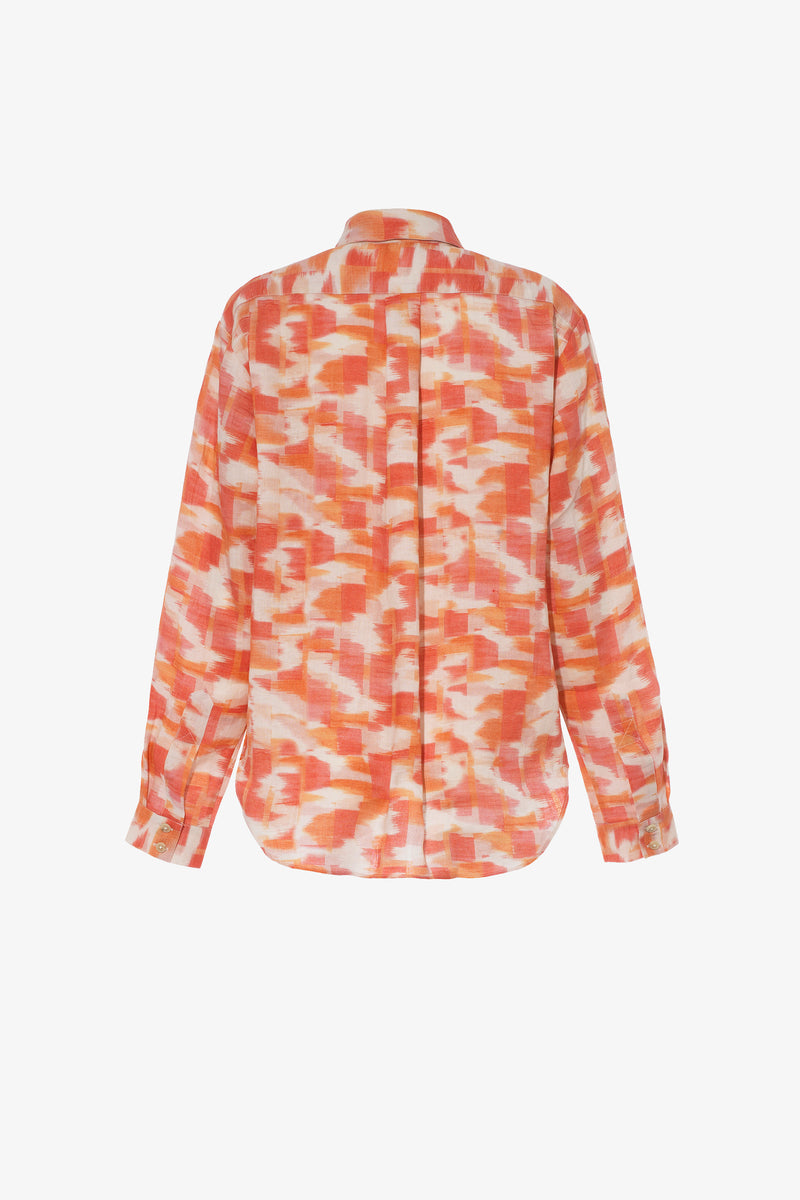 Willow Linen Button Down Shirt in Ikat Print