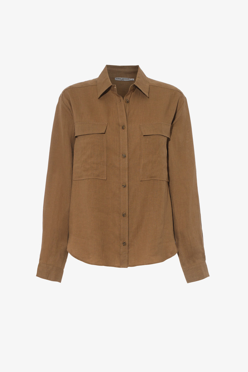 Willow Linen Button Down Shirt in Clay