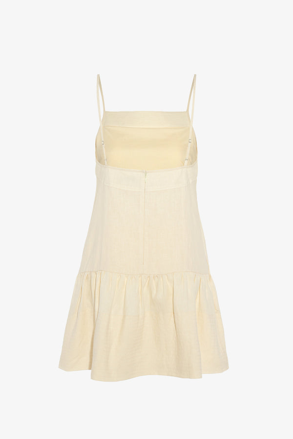 Skye Linen Mini Dress in Chalk
