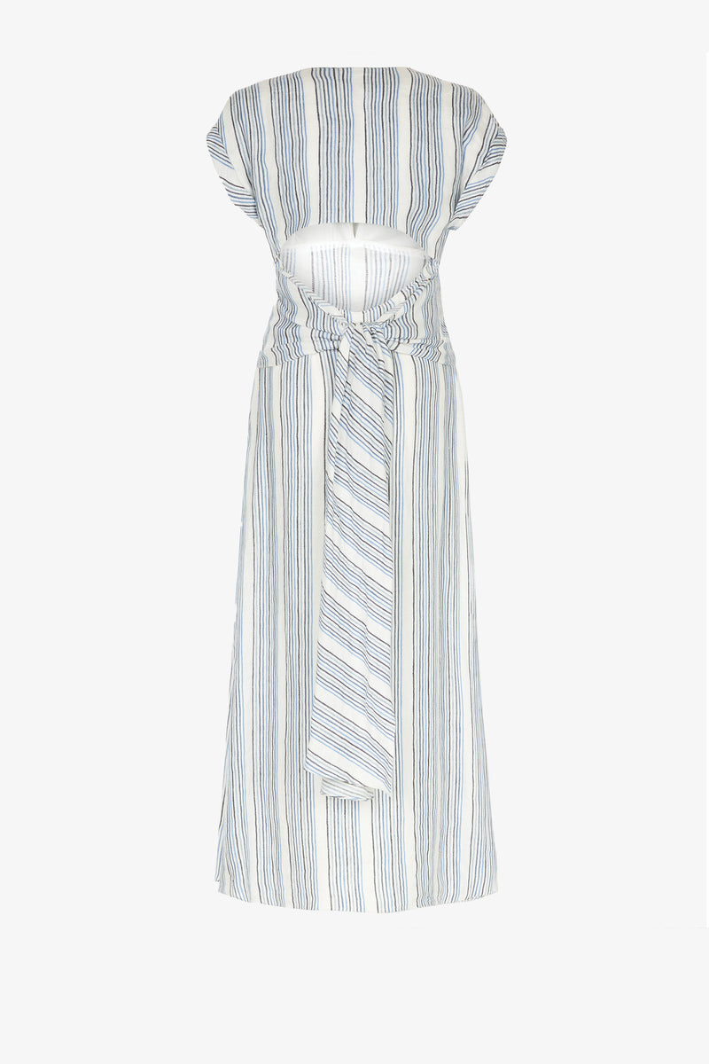 Tilde Open Back Midi Dress in Marine Stripe