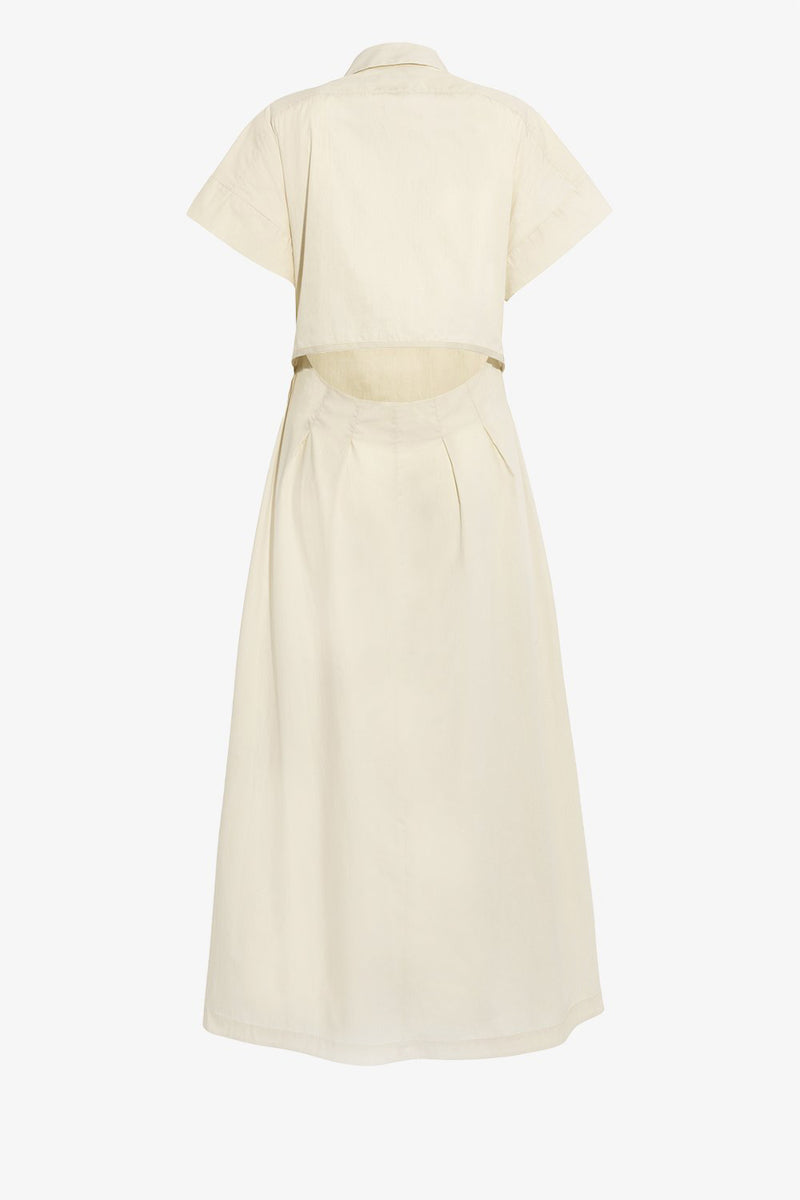 Ottilie Cotton Midi Dress in Chalk