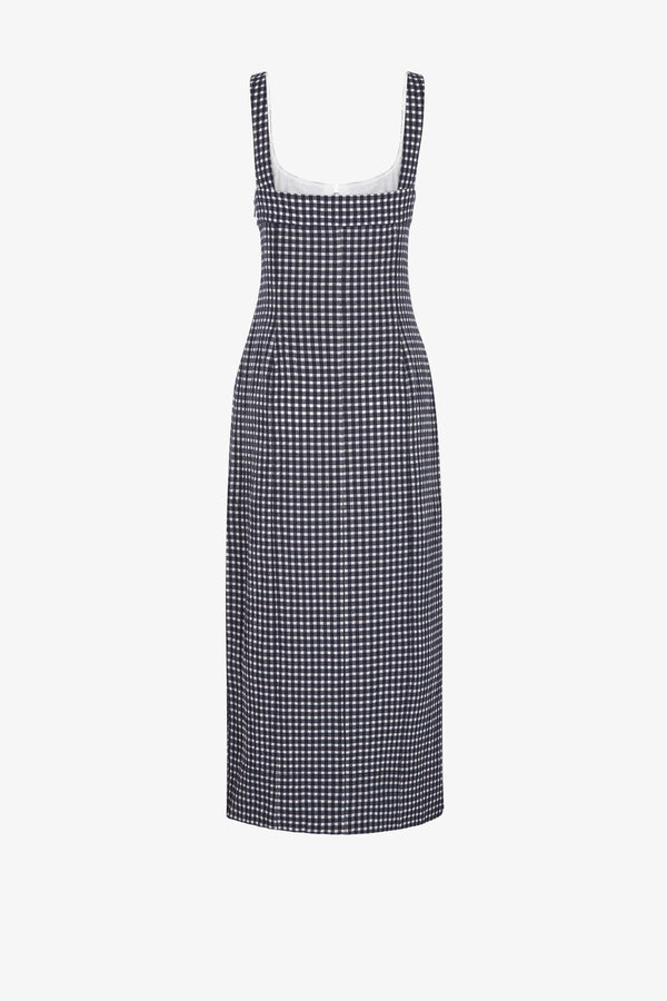 Tomasina Cotton Midi Dress in Navy Gingham