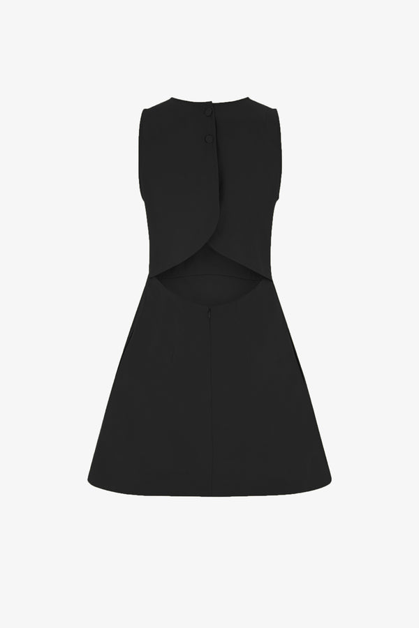 Trini Cotton Cutout Detail Mini Dress in Black