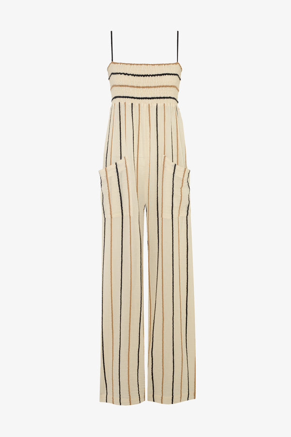 Tallie Cotton Shirred Bust Jumpsuit in Rope Stripe