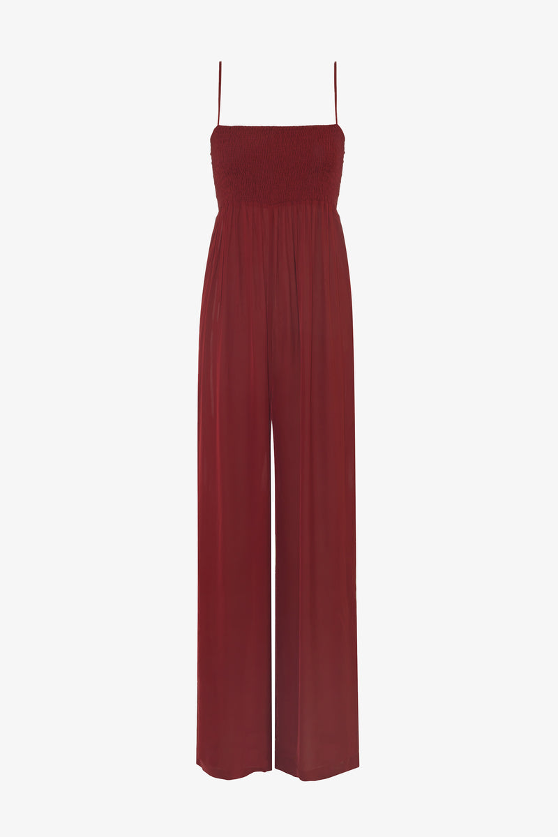 Tallie Shirred Bust Jumpsuit in Ruby Red