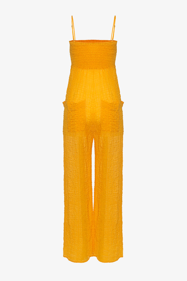 Tallie Cotton Shirred Bust Jumpsuit in Saffron Yellow