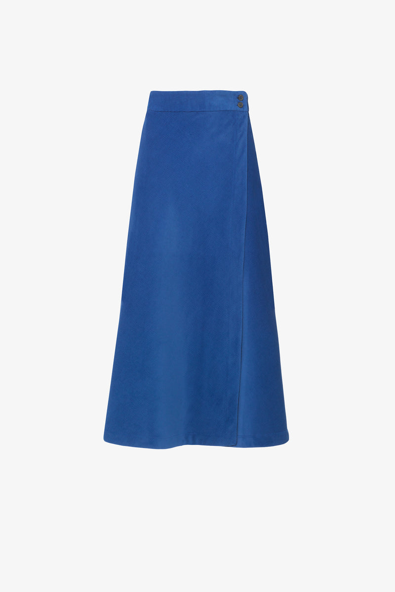 Theo Needlecord Bias-Cut Midi Skirt in Royal Blue