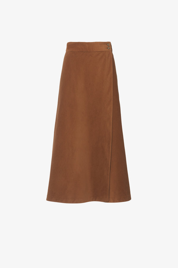 Theo Bias Cut Midi Skirt in Tan