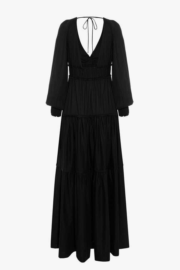 Theodora Cotton Tie Detail Maxi Dress in Black