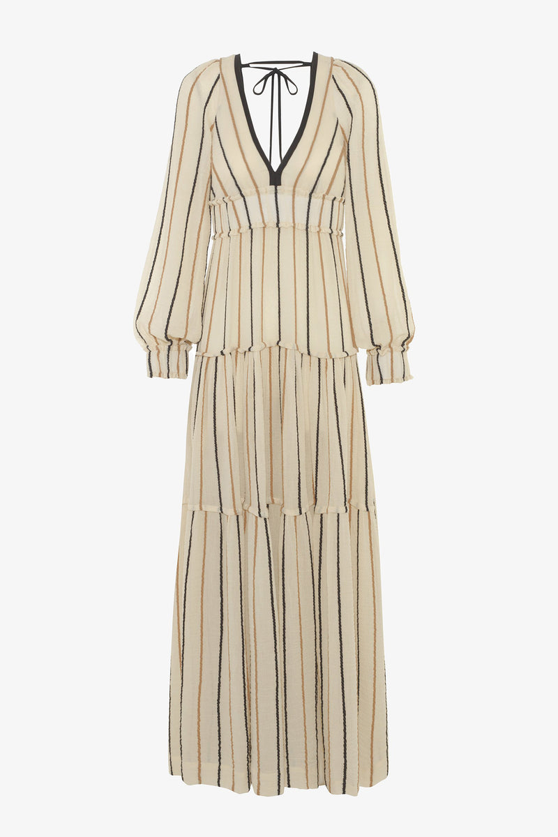 Theodora Cotton Tie Detail Maxi Dress in Rope Stripe