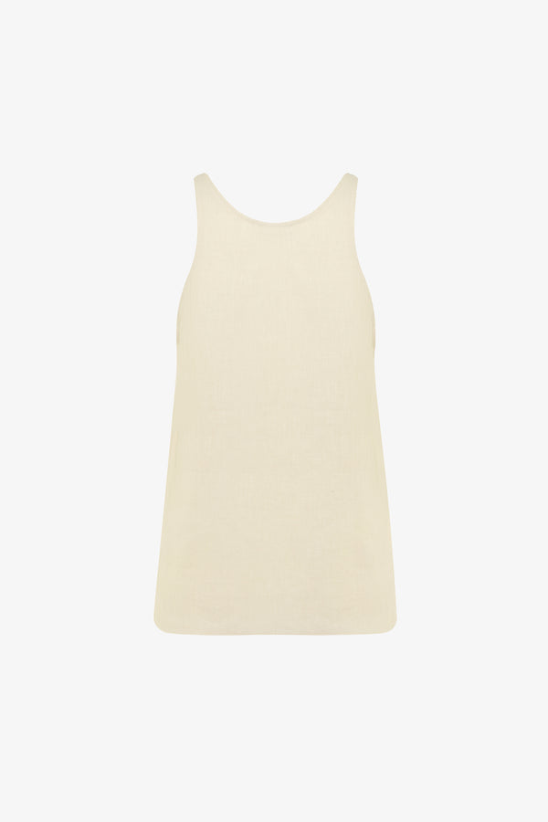 Tina Linen Scoop Neck Top in Chalk