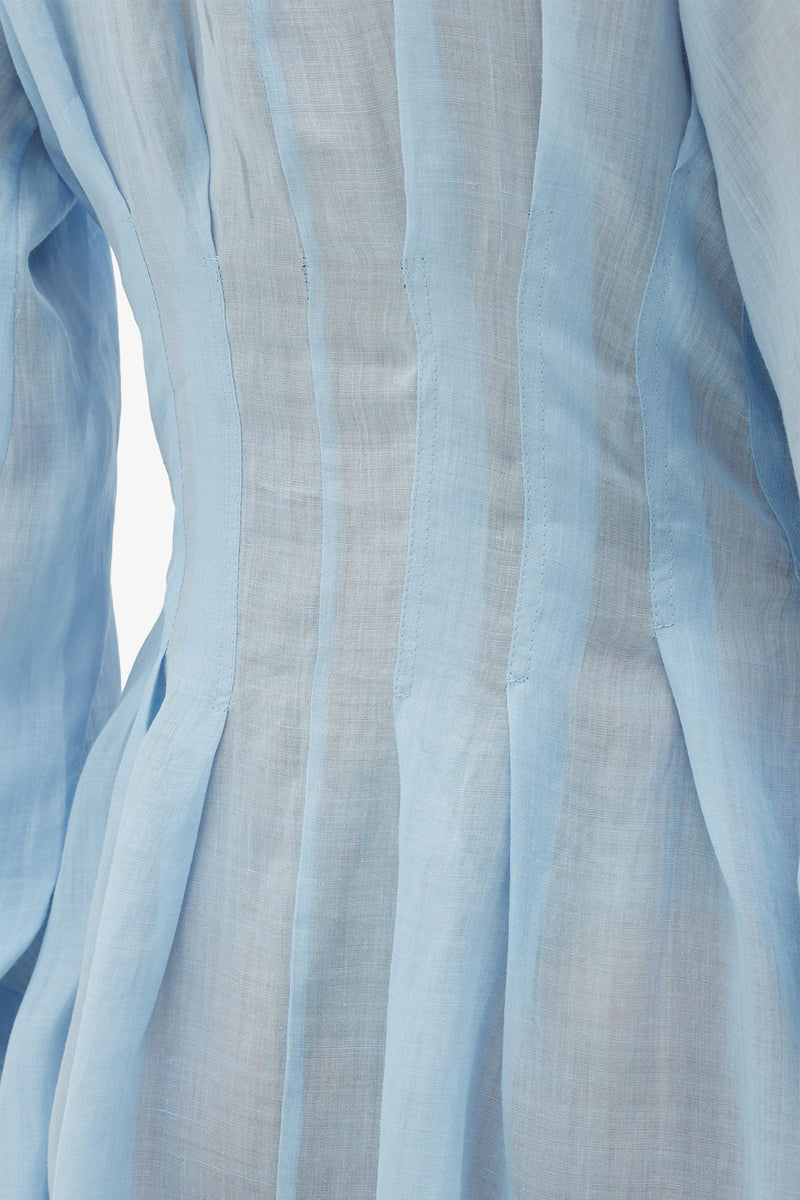 Valeraine Deep Pleat Midi Dress in Sky Blue