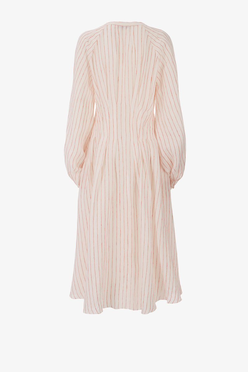 Valeraine Linen Deep Pleat Midi Dress in Wave Stripe
