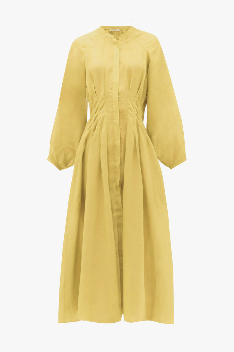 Valeraine Cotton Deep Pleat Midi Dress in Cornflower Yellow