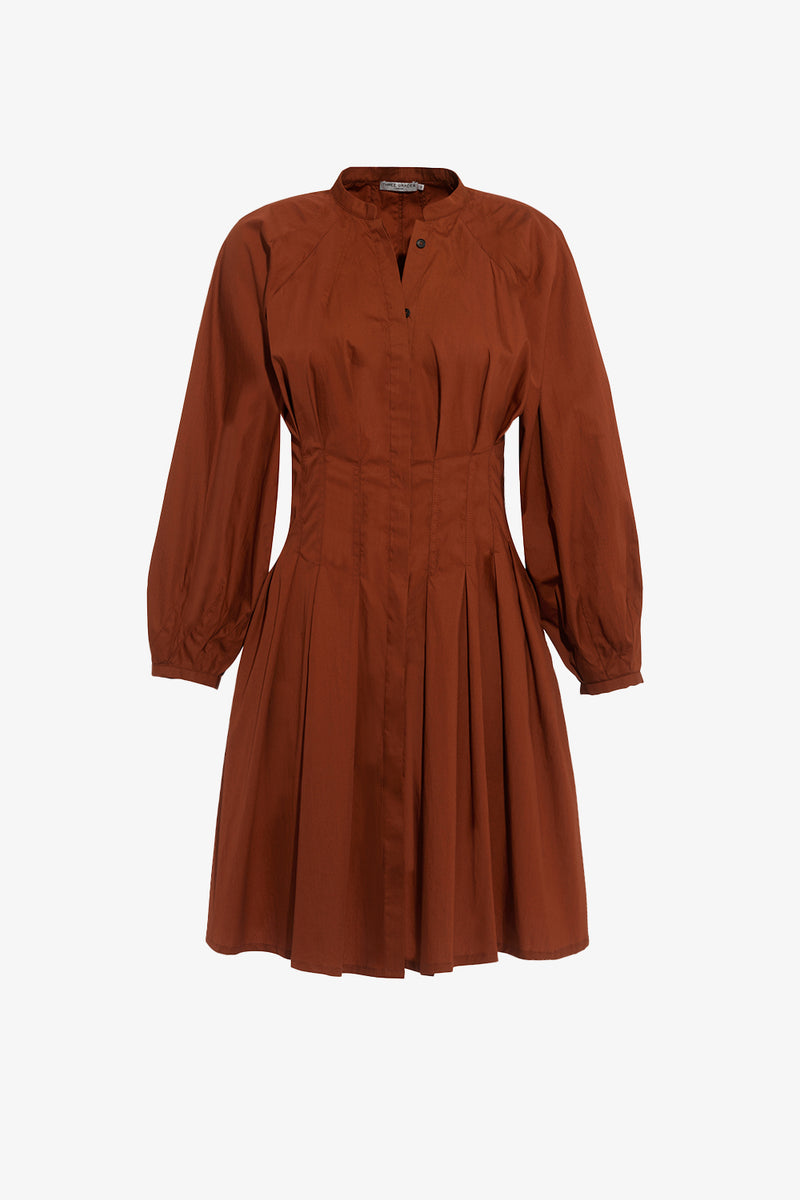 Viola Cotton Mini Dress in Copper