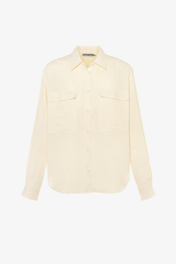 Willow Linen Button Down Shirt in Chalk