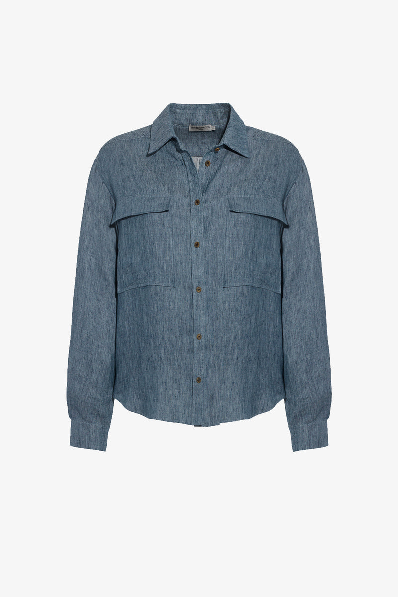 Willow Linen Button Down Shirt in Denim Blue
