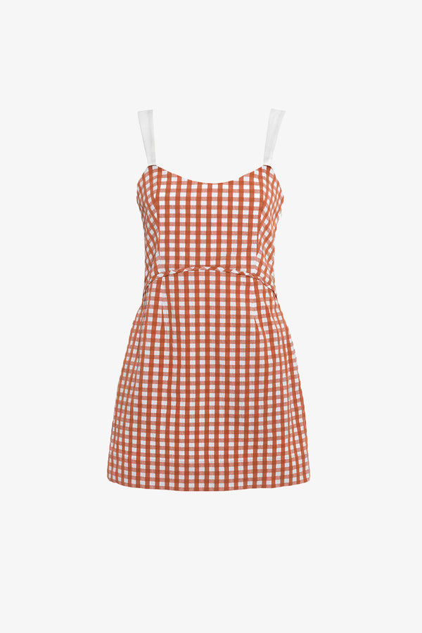 Audrey Cotton Mini Dress in Copper Gingham