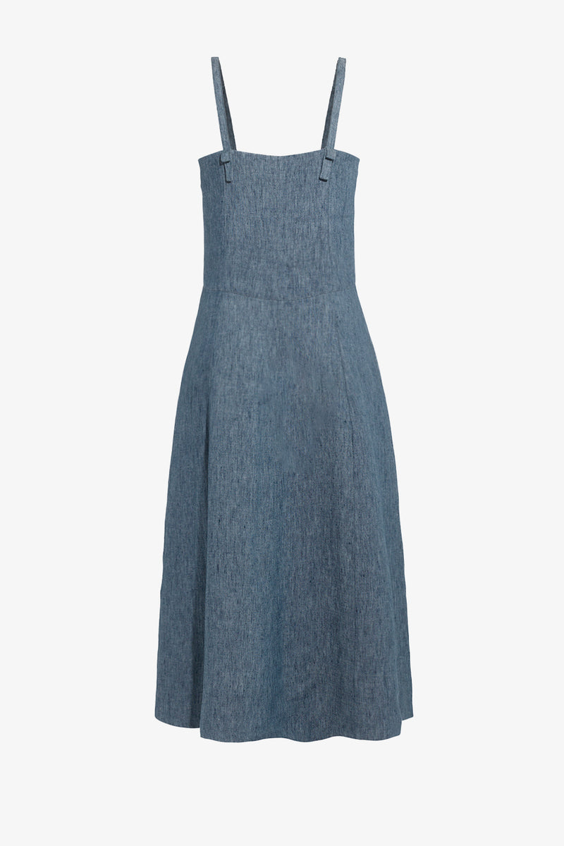 Bonita Linen Button Down Dress in Denim Blue